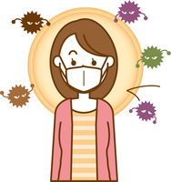 風邪予防のマスクをしている女性のイメージイラスト