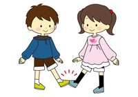 People greeting with feet and feet
