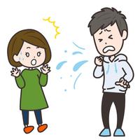 突然の咳に驚く女性 ポーズ イラスト