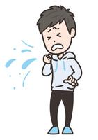 咳をする男性 ポーズ イラスト