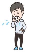 咳をハンカチで押さえる男性 イラスト