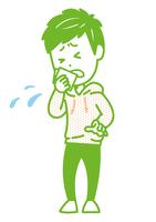 ハンカチで咳を押さえる男性 ポーズ イラス