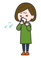 咳をハンカチで押さえる女性 イラスト