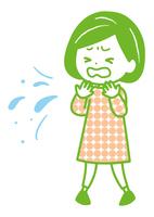 咳、くしゃみをする女性 ポーズ イラスト
