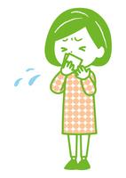 咳をハンカチで押さえる女性 ポーズ イラス