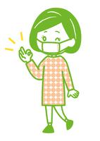 マスクを着用する女性 ポーズ イラスト