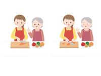 料理教室 野菜を切る女性