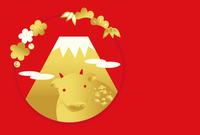 牛 富士山 金と赤色 年賀状