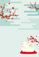 牛の置物 梅の木 和柄 年賀状