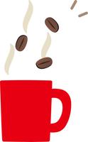 コーヒー豆とマグカップ