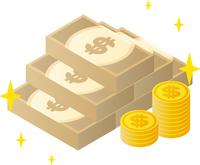 ドル札束とコイン