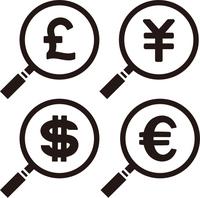 ルーペと通貨記号