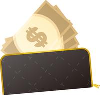 財布とドル紙幣