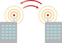 通信で情報交換する建物