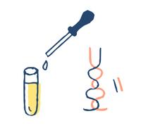 ウイルス検査イメージ 遺伝子と試験管
