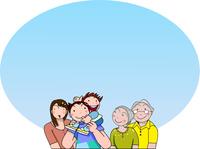 青空の下の明るい家族