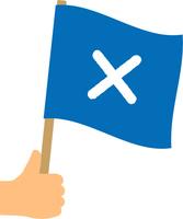 ばつの旗を持つ手
