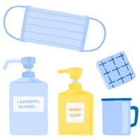 風邪予防 感染症予防グッズ マスク ハンカチ 消毒用アルコール ハンドソープ コップ