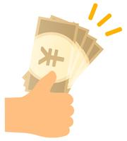 円の紙幣を手で持つ