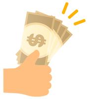 ドルの紙幣を手で持つ