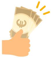 ユーロの紙幣を手で持つ