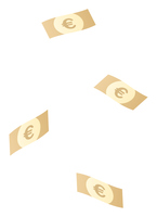 落ちてくるユーロの紙幣