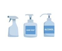 スプレー、ボトル、消毒、容器、アルコール、ハンドソープ、イラスト、ベクター、セット