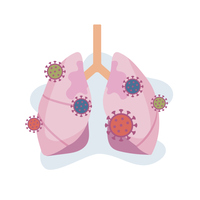 肺、ウイルス、感染、肺炎、covid-19、コロナ、イラスト、ベクター、