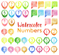 水彩フレームの数字セット