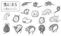 筆で描いた手描きのネズミや牛、可愛い動物イラスト