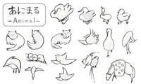 筆で描いた手描きの鳥や猫、可愛い動物イラスト