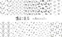 筆で描いた手描きの可愛い動物イラスト背景