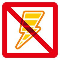 電気アイコンと禁止マーク