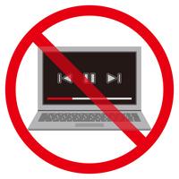 ノートパソコン動画再生禁止マーク