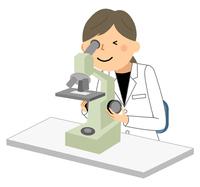 白衣の女性 顕微鏡