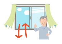 窓を開けて換気するとカーテンが揺れるベクタ