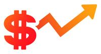 ドル記号と上昇する矢印