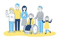車椅子のおばあちゃんと家族