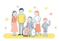 車椅子のおじいちゃんと家族