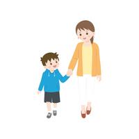 手を繋ぐ親子のイラスト