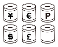 通貨記号と貯金箱