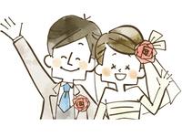 ウェディング-新婚夫婦-水彩