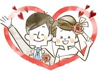 ウェディング-新婚夫婦-ハート-水彩