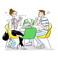 フードコートで食事をする子連れ家族