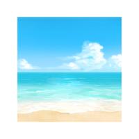 【昼間】水彩風の砂浜と海の背景イラスト
