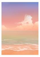 【夕焼け】水彩風の砂浜と海の背景イラスト