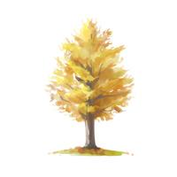 【秋イメージ】おしゃれなイチョウの水彩風紅