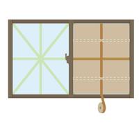 ダンボールで補強中の窓