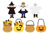 ハロウィンの仮装をした子供たちとキャンディ