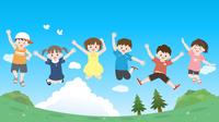 元気にジャンプする子供達のイラスト 青空風景